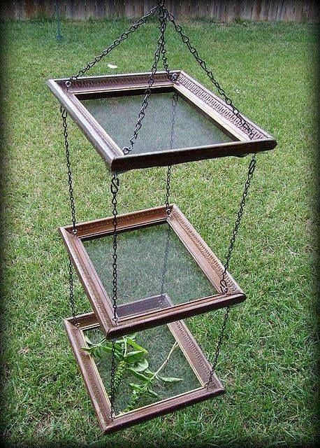 A very handy herb dryer made from old picture frames and fly screen