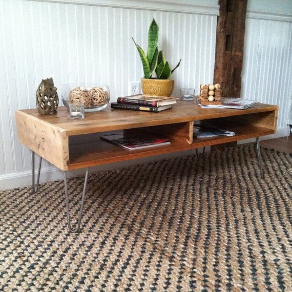 reclaimed wood mid century modern coffee table with steel hairpin legs rustic decor barn wood. Black Bedroom Furniture Sets. Home Design Ideas
