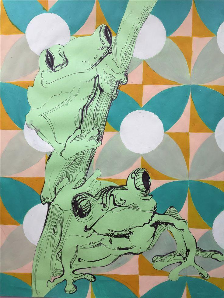 Frogs, pattern , sketch, illustration