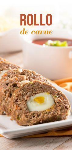 Esta es una sencilla receta que le encantará a toda tu familia, es un rico rollo de carne relleno de huevo cocido, servido con una rica salsa. Es una buena y diferente opción para preparar carne molida y deleitar a todos.