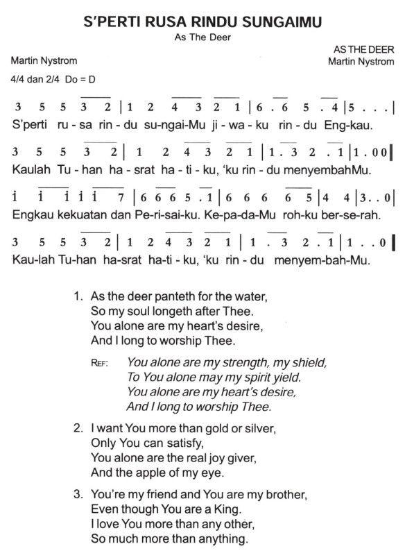 Lirik Lagu Sperti Rusa Rindu Sungaimu : lirik, sperti, rindu, sungaimu, S'perti, Rindu, Sungai-Mu, Partitur, Angka, Deer,, Permalink,