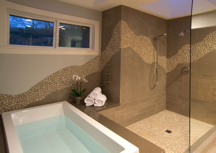 Island Pebbles Run Through This Open Shower Area. Kitchen Plus   Bellevue,  WA