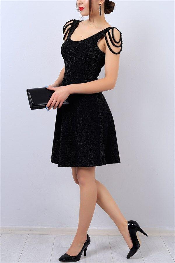 44 95 Tl Siyah Kol Detay Simli Bayan Elbise 13924b Modamizbir Elbise Elbiseler Moda Stilleri