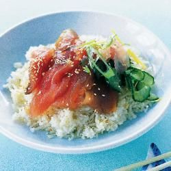 Home-cured tuna with pickles & sesame ginger rice