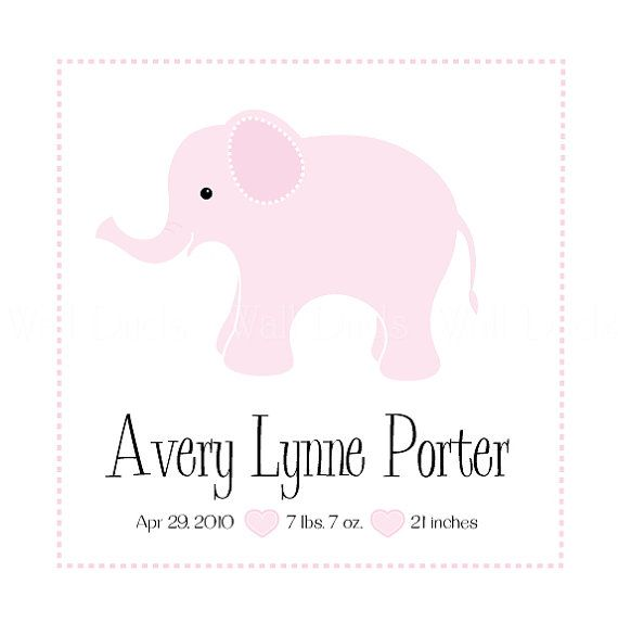 Elephant Nursery Decor Baby Decor Children Decor Pink by WallDuds, $12.00