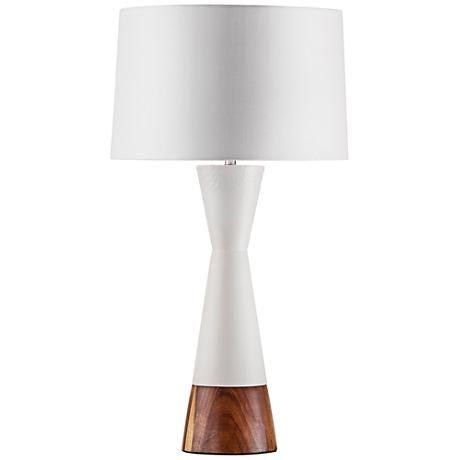 Nova Borden Bone White And Caribbean Walnut Table Lamp