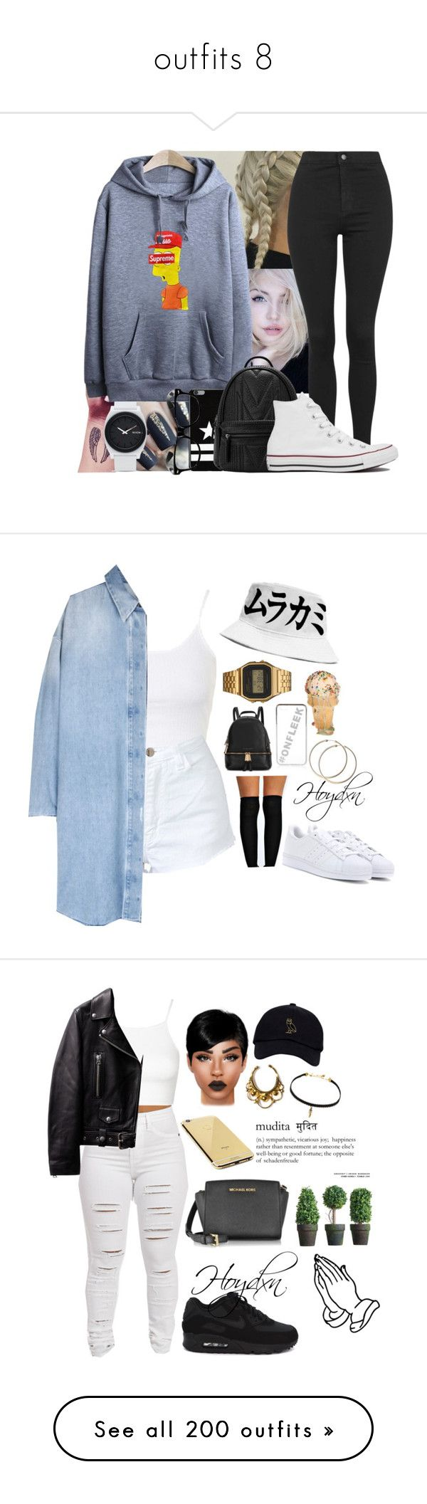 """""""outfits 8"""" by mjvflorez ❤ liked on Polyvore featuring Nixon, Topshop, Givenchy, Converse, Boohoo, adidas Originals, Michael Kors, G-Shock, River Island and NIKE"""