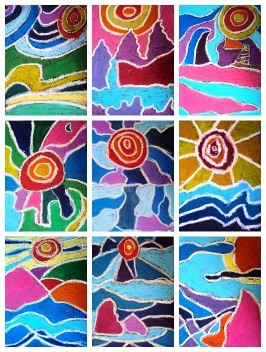 This would make a great collaborative art project for the classroom. Ted Harrison Landscapes.