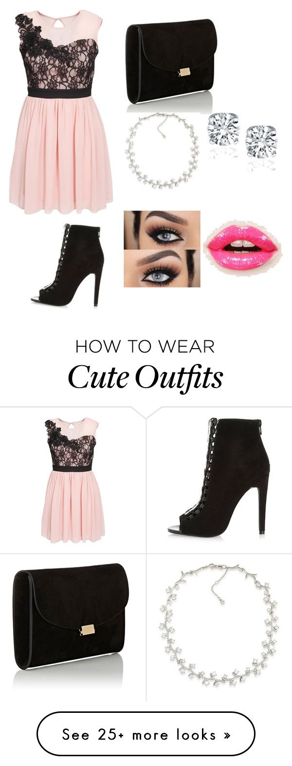 """""""Cute Party Outfit"""" by lsantana13 on Polyvore featuring Elise Ryan, River Island, Mansur Gavriel, Carolee and Christian Dior"""