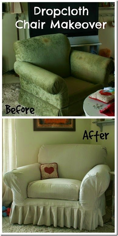 Canvas Drop Cloth Slipcover for chair