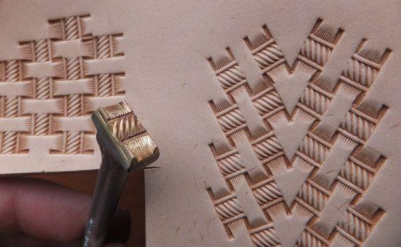 013-18 Basketweave mit Seil Leder-stamp-hausgemachte von Toolpaw