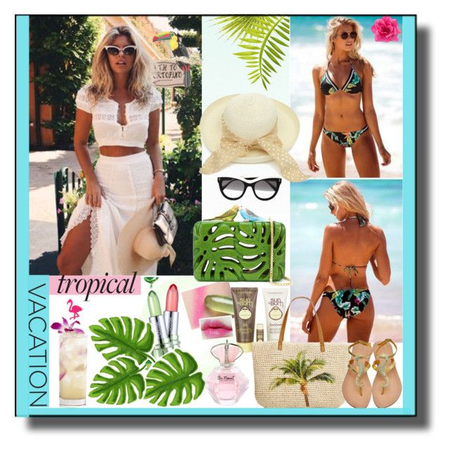 """""""Welcome to Paradise: Tropical Vacation"""" by belladonnasjoy ❤ liked on Polyvore featuring Oakley, STELLA McCARTNEY, Sarah's Bag, Sun Bum, Style & Co., contest, contestentry and TropicalVacation"""