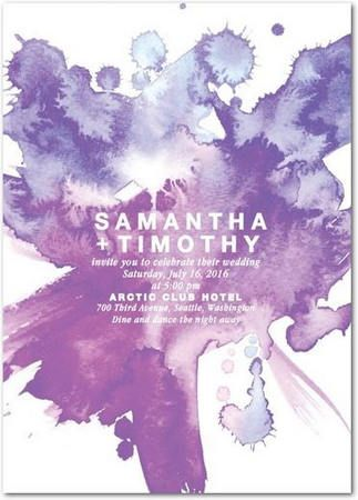 Gorgeous Watercolor Wedding Invitations // Purple Plumberry Splash Wedding Invitations. Add a bold splash of pretty purple to your invitation suite with this striking design.