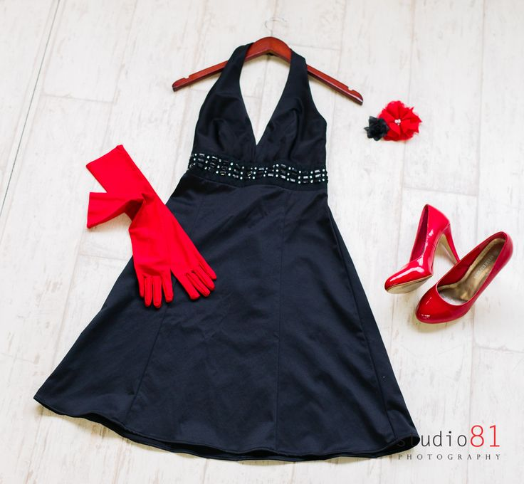 Black Satin Halter Dress (Size 8), Red Long Gloves, Red Patent Heels, Red and Black Flower Hairclip