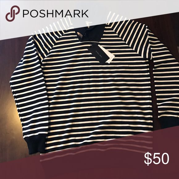 Zara man sweat shirt NWT New pinstripes blue and white sweater with tags and receipt Zara Sweaters
