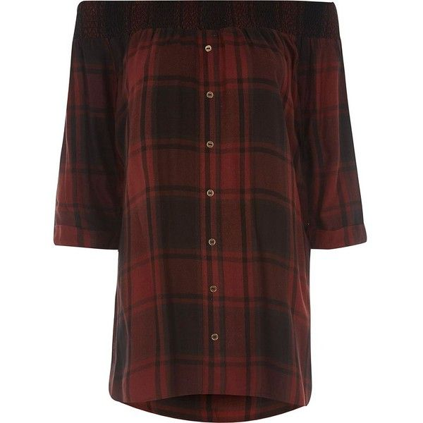 River Island Red check shirred bardot shirt ($56) ❤ liked on Polyvore featuring tops, bardot / cold shoulder tops, red, women, cut-out shoulder tops, loose shirt, red checkered shirt, red checked shirt and red cold shoulder top