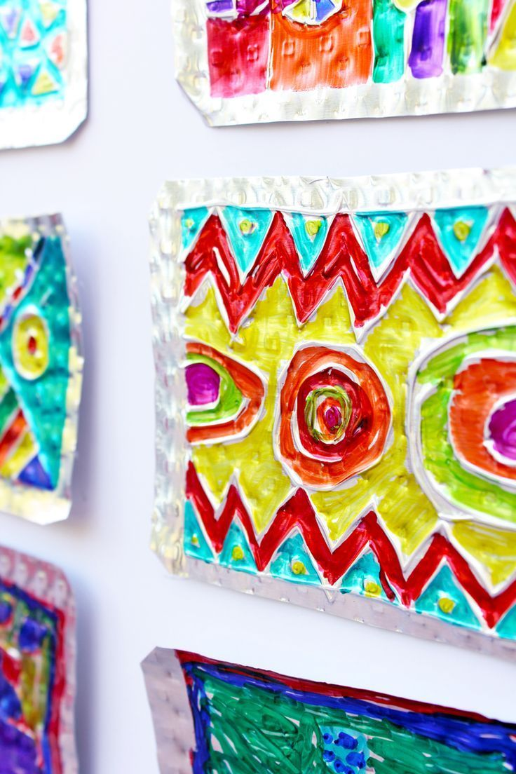 Easy Art Ideas for Kids: Embossed Tin Art from BABBLE DABBLE DO