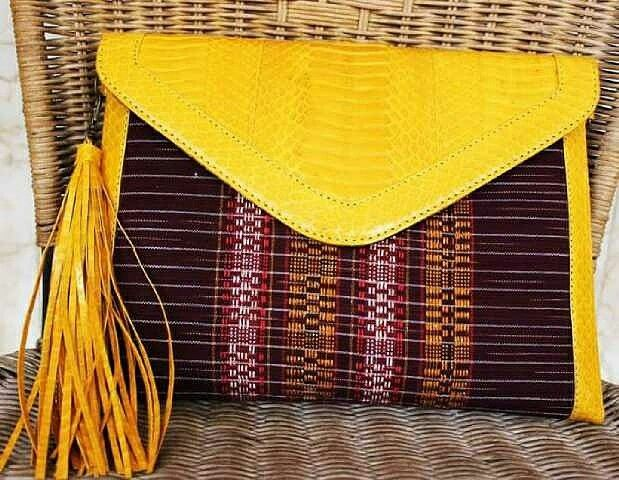 Ikat woven and snakeskin clutch