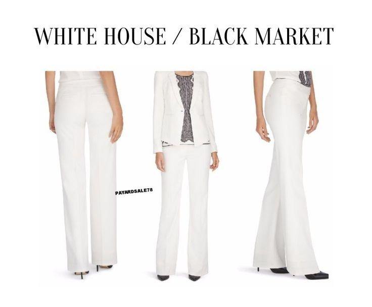 WOMEN'S PANTS SIZE 12 REG WHITE HOUSE BLACK MARKET OFF WHITE ECRU BOOT CUT DRESS #WhiteHouseBlackMarket #DressPants