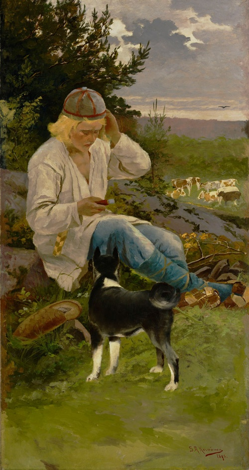 Sigfrid August Keinänen - Kullervo paimenessa, 1896 - Finland - Finnish cows, dog ... Looks like he's texting on a smartphone!