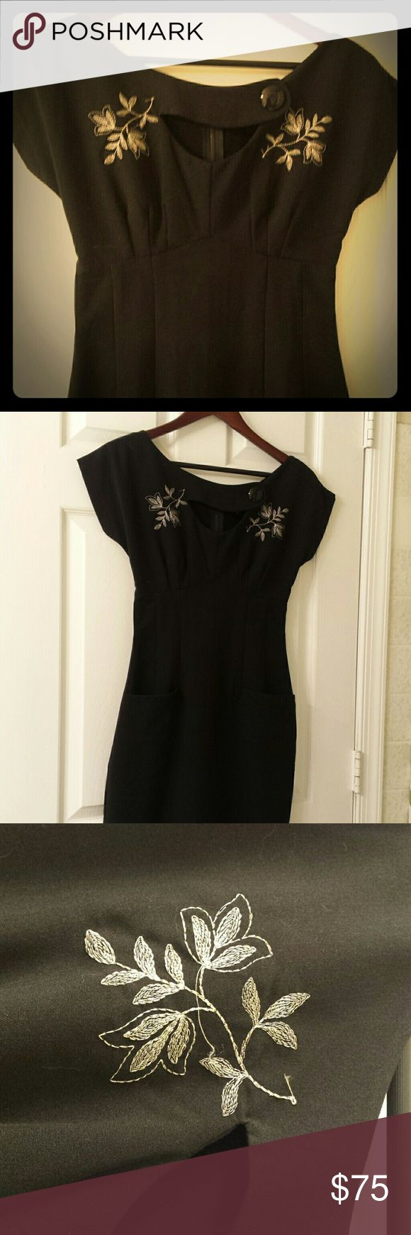 Betty Page dress Shoulder embroidery in silver. Very flattering fit Betty Page Dresses