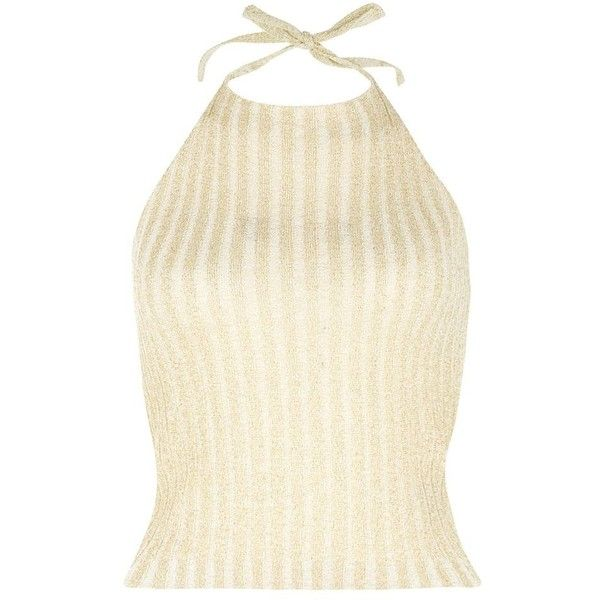 Gold Shimmer Ribbed High Halter Neck Top (£6) ❤ liked on Polyvore featuring tops, gold, halter tops, gold top, beige top, slimming tops, summer tops and strappy halter top