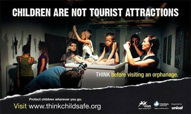 One of the campaign posters against orphanage tourism. Photo supplied.