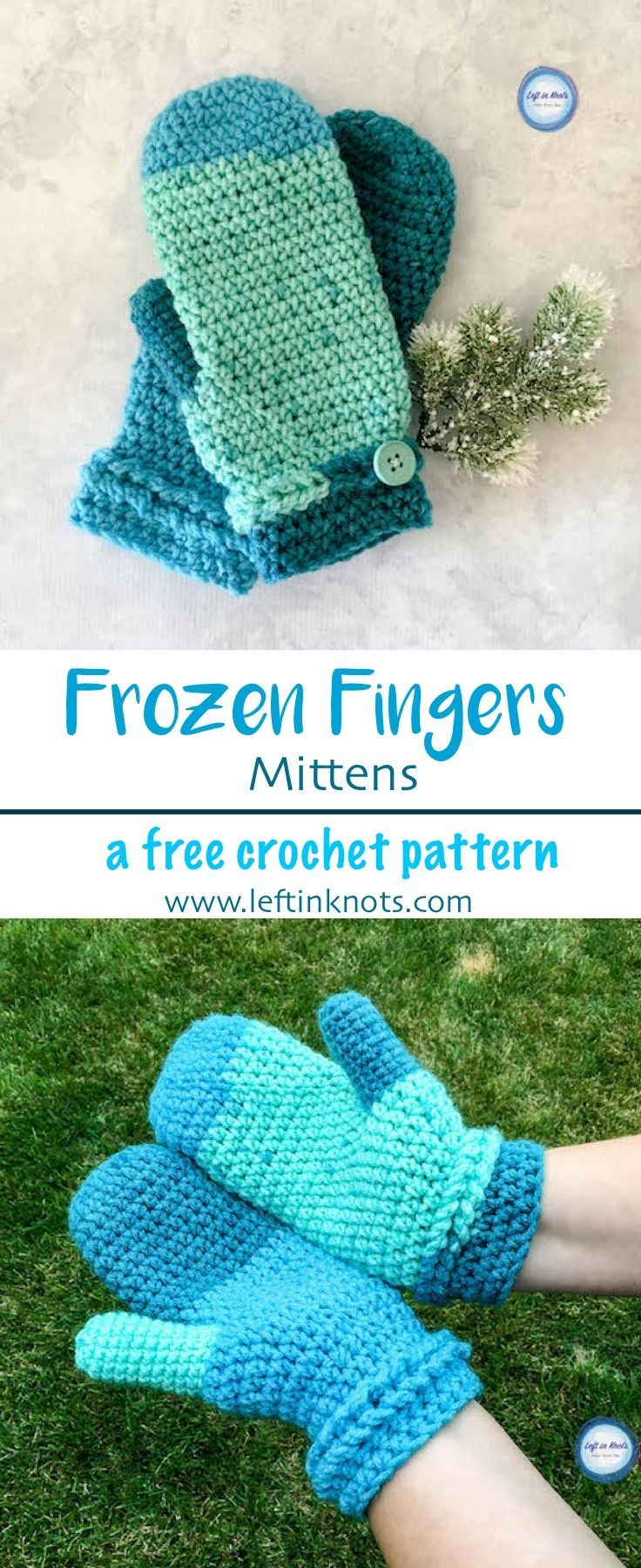 Take out one skein of yarn and make a pair of beautiful, warm mittens to add to your gifting stash!  The Frozen Fingers Mittens are a fast, simple and free crochet pattern and will keep your hands warm all fall and winter.