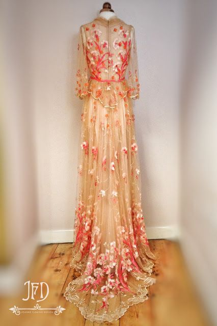 Joanne fleming design 39 corallium 39 a romantic floral for Flower embroidered wedding dress