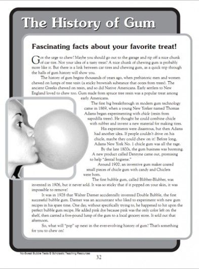 FREE READING PRINTABLE~  Your students will love solving this riddle by comprehending this passage on the history of gum.