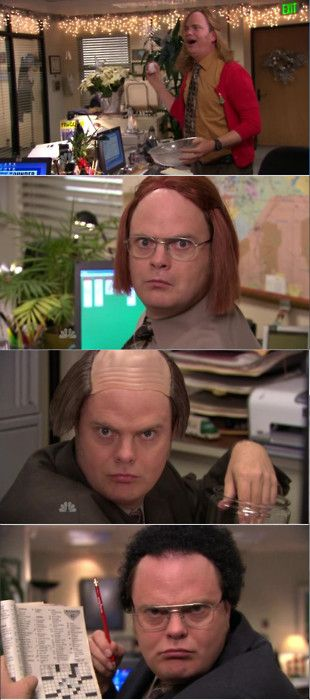 """""""yes, i have a wig for every single person in the office.""""  HAHAHAHA. i love dwight! he might just be my favorite character in that show"""