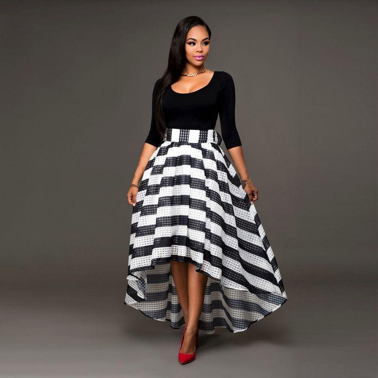 Elegant Two-Piece Long Sleeve Stripe Dress