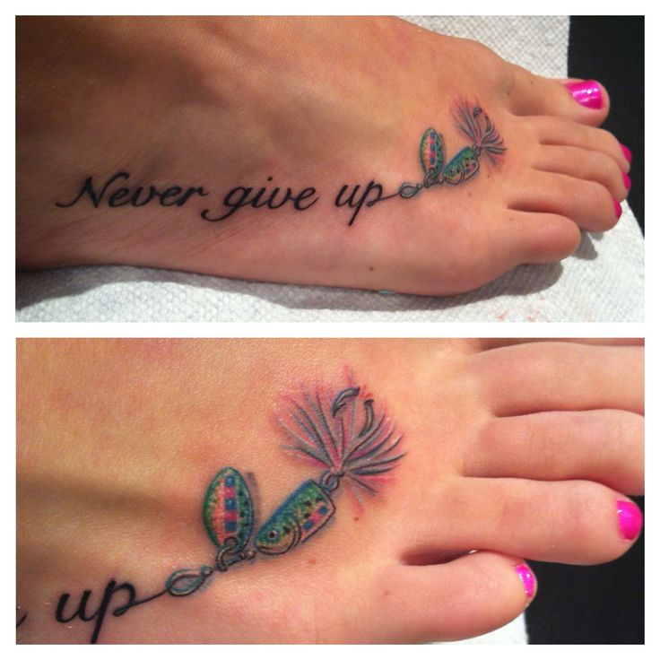 Never give up tattoo with fishing hook.