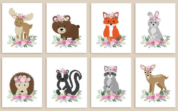 Woodland Nursery Prints Baby Decor Fl