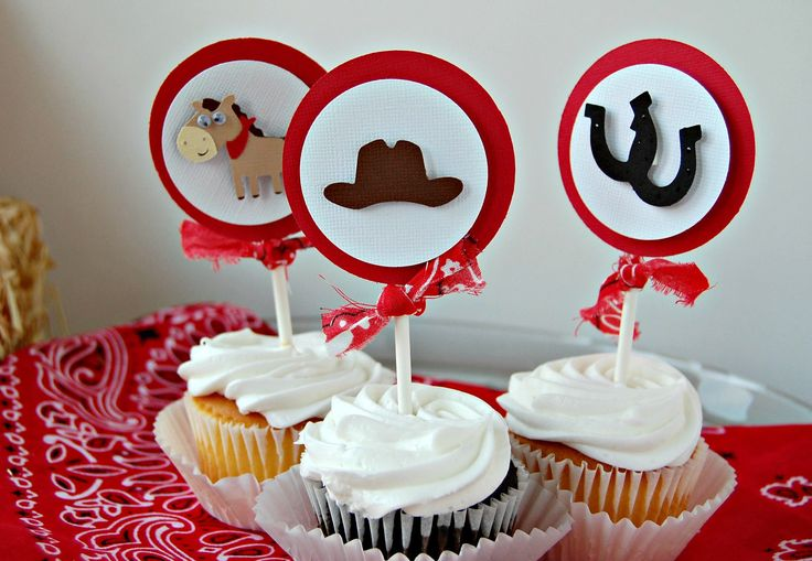 Cowboy Themed Birthday Party Cupcake Toppers - Western Party Decorations (set of 12)