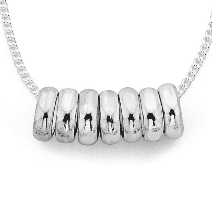 Sterling Silver 7 Lucky Rings Necklace - Pascoes The Jewellers