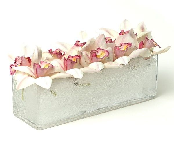 PlantShed.com | White & Pink Beauty | Flower Delivery NYC | Orchids floating in a long rectangular vase.