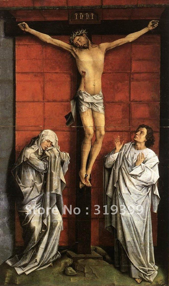 100% handmade Oil Painting reproduction,Cristo crucificado,con la Virgen y San <font><b>Juan</b></font> By Rogier van der weiden,Free DHL Shipping,