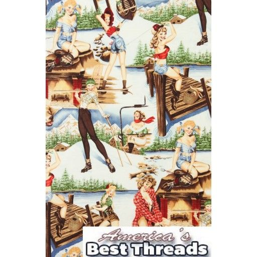 """It's outdoors all the way for these homegrown steamy gals. A collage of rustic outdoor scenes features these feisty ladies posing enticingly for the camera! This Fabric is not sold by the yard. It is sold by the fat quarter only. 'The Great Outdoors' from the 'Twin Peaks' collection by Alexander Henry. Girls are about 8"""". www.americasbestthreads.com"""