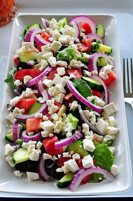 Mediterranean Salad Recipe - Such a tasty and bright salad for lunch or supper! This one is especially great for entertaining and is a crowd favorite! // addapinch.com