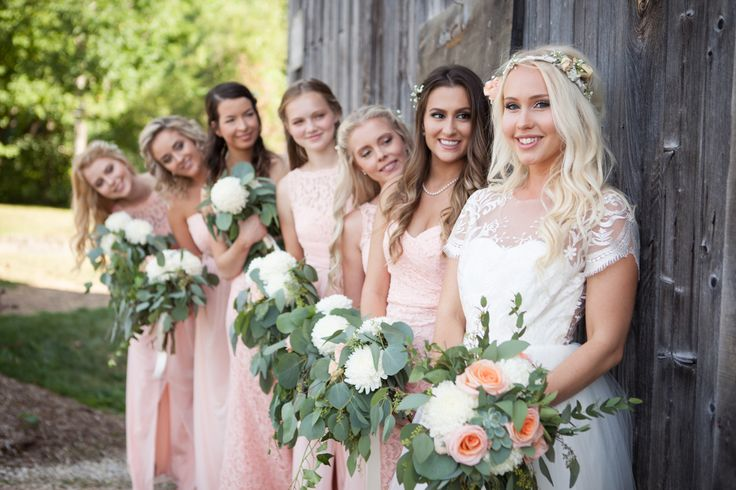 Peach wedding dresses, Floral by Leuk in Collingwood, Ontario. Wedding dress by Jordan de Ruiter Clothing