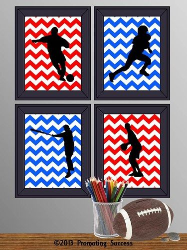 Printable Chevron Art Sports Signs for Boy's Bedroom