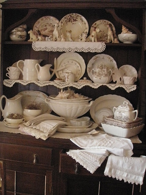 Jacqueline's cottage cupboard..sigh~love brown and white transferware