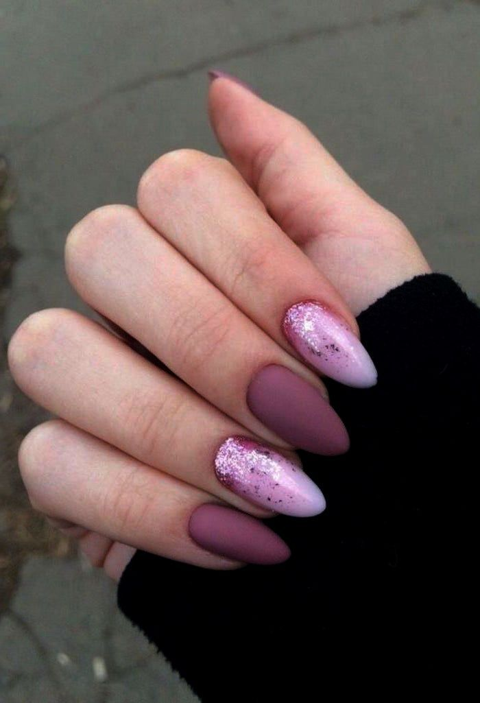 Home Blend Of Bites Pink Glitter Nails Nail Designs Short Almond Shaped Nails