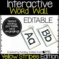 Yellow Stripes portable word wall that is engaging, interactive and a space saver for any classroom.