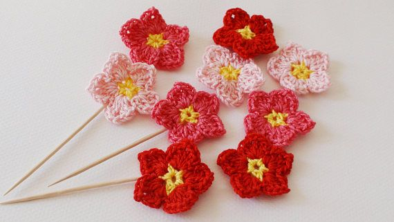 Pink Coral Red crochet flowers  flower favor  girls birthday