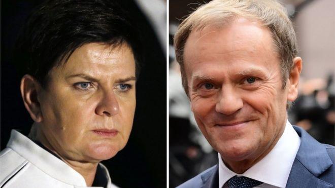 Polish Prime Minister Beata Szydlo (left) and European Council President Donald Tusk