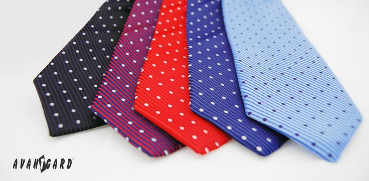 Puntíkované kravaty AVANTGARD - červená, fialová, modrá   ///   Spotted tie - red, blue, purple - brand AVANTGARD