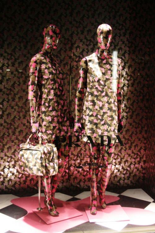 window display, prada, print, all over print, fashion, mannequin