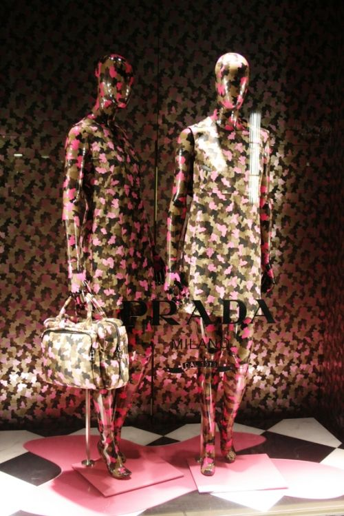 window display, prada, print, all over print, fashion, mannequin